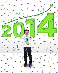 Little child celebrating a new year