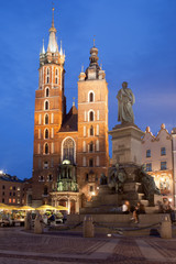 St Mary Basilica and Adam Mickiewicz Monument at Night in Krakow