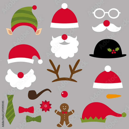 Christmas Santa, elf, deer and snowman design elements set - 73959345