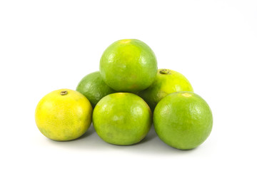Limes or lemon Green on a white background.