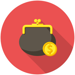 Purse and coin icon