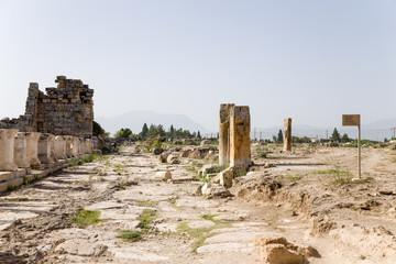 Hierapolis, Turkey. Ruins along the ancient Frontinus Street