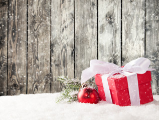Christmas gifts in snow