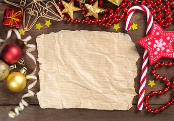 Christmas composition with paper