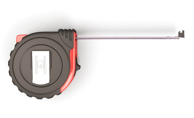 Tape measure on the white background top view