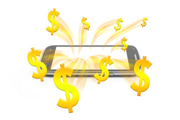 money rush from smartphone mobile,gold money abstract