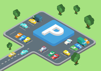 Flat 3d isometric concept of public outdoor open parking area