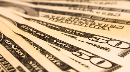Background with american dollar bills different banknotes