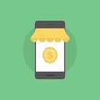 Mobile commerce flat icon illustration