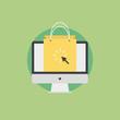 Online shopping flat icon illustration