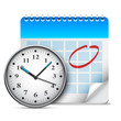 Big clock and calendar with marked page. - 73962961