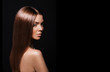 Leinwanddruck Bild - Beauty Woman with Very Long Healthy and Shiny Smooth Brown Hair