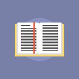 Open textbook flat icon illustration