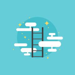 Ladder of success flat icon illustration