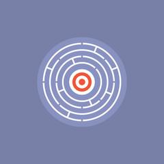 Maze challenge flat icon illustration