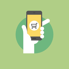 Mobile shopping flat icon illustration