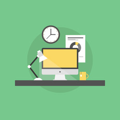 Corporate workplace flat icon illustration