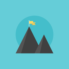 Mountain peak flat icon illustration