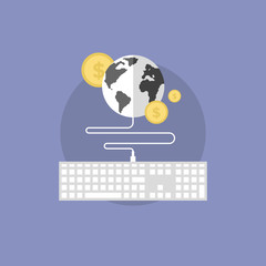 Global finance flat icon illustration