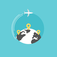 Around the world flat icon illustration