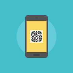 QR-code on smartphone flat icon illustration