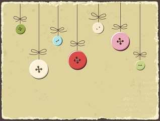 Vintage greeting card with buttons. Vector