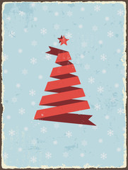 Christmas vintage card with ribbon tree. Vector