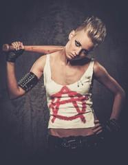 Punk girl with a baseball bat
