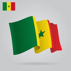 Background with waving Senegal Flag. Vector