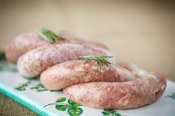 Crude homemade beef sausage