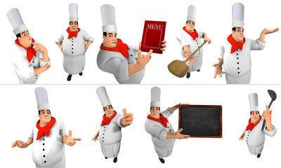 Cuoco in varie pose