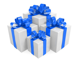 White gift box set decorated with beautiful blue ribbons