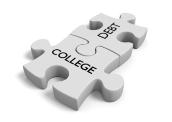 Financial aid concept of puzzle pieces with words college debt