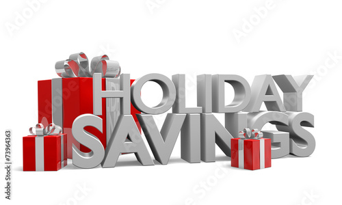 Holiday Savings words in 3D with red gifts decorated in ribbons - 73964363