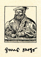Hans Sachs, wood engraving by Michael Ostendorfer