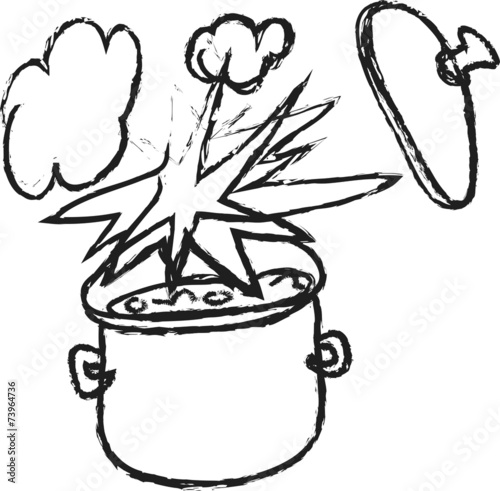 doodle cooking pot and explosions - 73964736