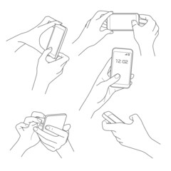 Hand holding smartphone sketch vector illustrations