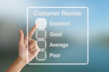 hand pushing customer review on virtual screen
