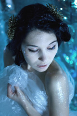 Fashion model portrait of winter woman with Christmas shine make