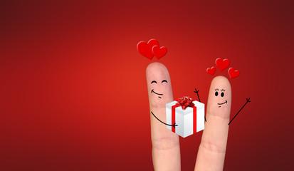 Happy finger couple in love celebrating Xmas