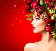 canvas print picture - Christmas Winter Woman. Beautiful Christmas Holiday Hairstyle