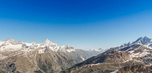 Mountain Range Landscape with Blue Sky at Alps Region, Zermatt,