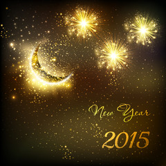 Happy New Year vector celebration background fireworks with moon