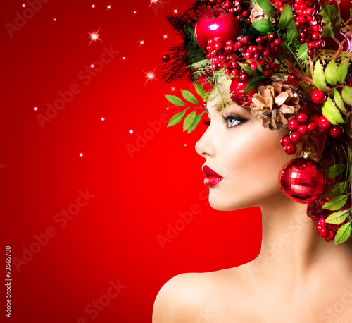canvas print picture Christmas Winter Woman. Beautiful Christmas Holiday Hairstyle