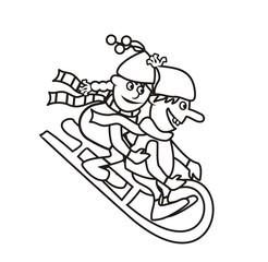 sledding, coloring book