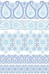 Winter Paisley lace seamless border set