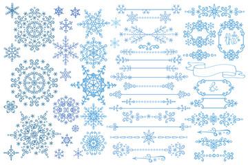 Snowflake,Border,frame set.Winter doodles decor
