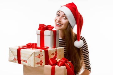 Young woman with gifts on Christmas
