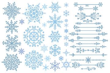 Snowflake set.Border set.Winter doodles decor