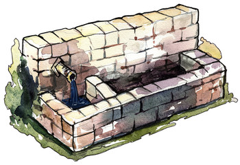 Isolated color drawing of ancient stone fountain